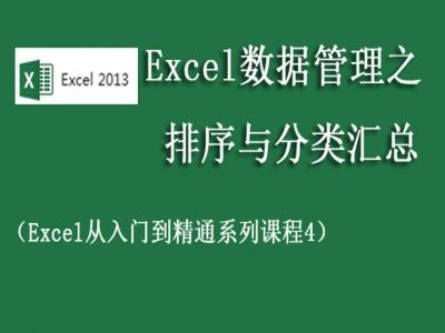 Excel办公自动化系列课程数据管理之排序与分类汇总视频教程